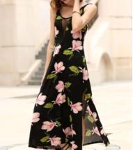 vestido evening básico longo floral invernal