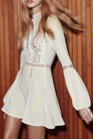 vestido evening style branco mangas