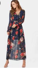 vestido maxi dresses estampado e transparencia
