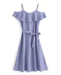vestido maxi dresses listras e amarração