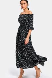 vestido maxi dresses poá preto e branco