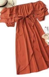 vestido maxi dresses vermelho ombro a ombro