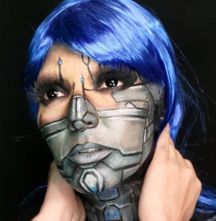 maquiagem robô feminina